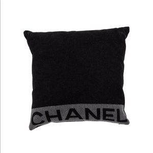 Chanel wool & cashmere grey & black throw pillow.
